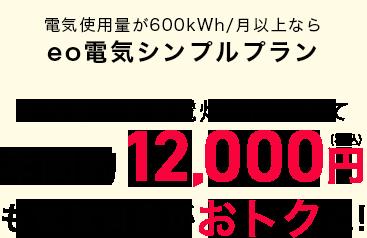 電気使用量が600kWh/月なら eo電気シンプルプラン 関西電力従量電灯Aと比べて年間約12,000円も電気料金がおトクに!
