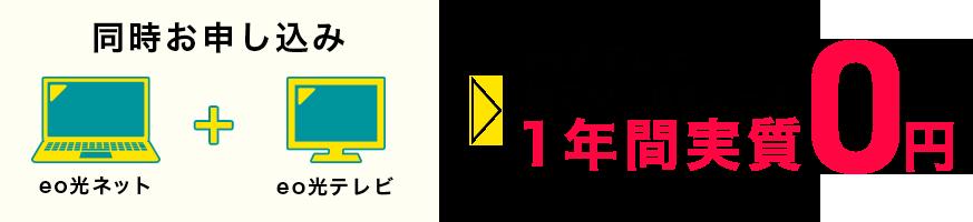 eo光ネット+eo光テレビ同時お申込み eo光テレビ 地デジ・BSコース 1年間実質0円