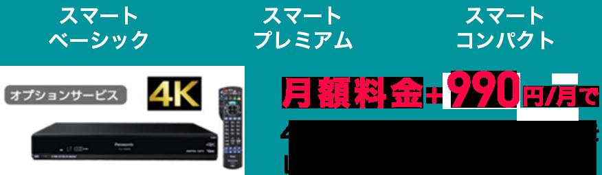 月額料金+990円/月で4K eo光TVチューナをレンタル出来ます!